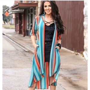 L&B Long duster cardigan striped duster cardigan